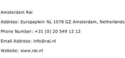 Amsterdam Rai Address Contact Number