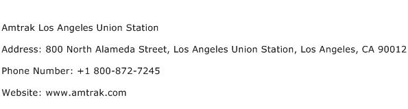 Amtrak Los Angeles Union Station Address Contact Number