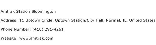 Amtrak Station Bloomington Address Contact Number
