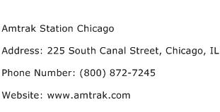 Amtrak Station Chicago Address Contact Number