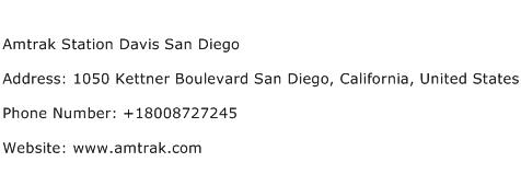 Amtrak Station Davis San Diego Address Contact Number