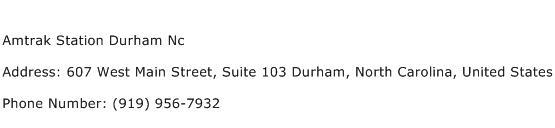 Amtrak Station Durham Nc Address Contact Number