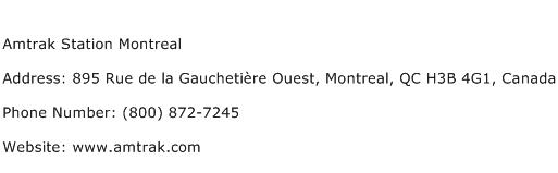 Amtrak Station Montreal Address Contact Number