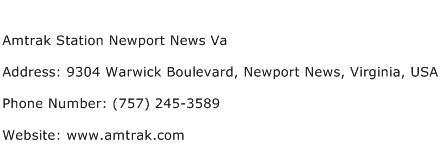 Amtrak Station Newport News Va Address Contact Number