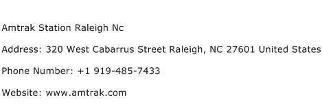 Amtrak Station Raleigh Nc Address Contact Number