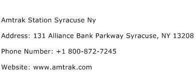 Amtrak Station Syracuse Ny Address Contact Number