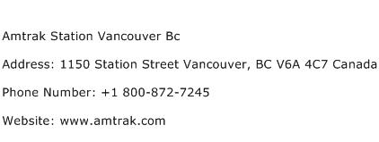 Amtrak Station Vancouver Bc Address Contact Number