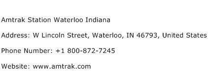 Amtrak Station Waterloo Indiana Address Contact Number
