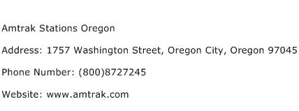 Amtrak Stations Oregon Address Contact Number