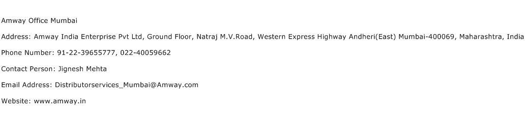 Amway Office Mumbai Address Contact Number