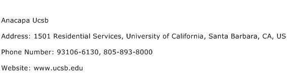 Anacapa Ucsb Address Contact Number