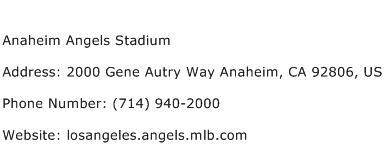 Anaheim Angels Stadium Address Contact Number