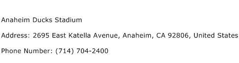 Anaheim Ducks Stadium Address Contact Number