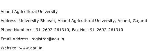 Anand Agricultural University Address Contact Number