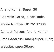 Anand Kumar Super 30 Address Contact Number