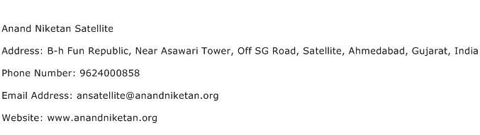 Anand Niketan Satellite Address Contact Number