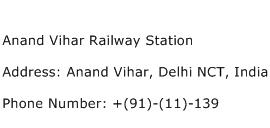 Anand Vihar Railway Station Address Contact Number