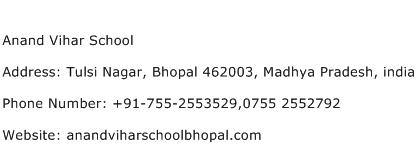 Anand Vihar School Address Contact Number