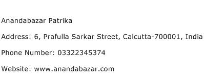 Anandabazar Patrika Address Contact Number