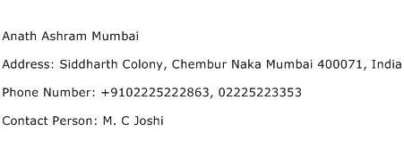 Anath Ashram Mumbai Address Contact Number
