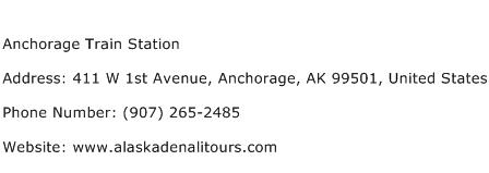 Anchorage Train Station Address Contact Number