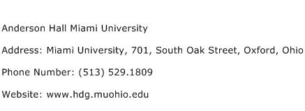 Anderson Hall Miami University Address Contact Number