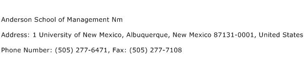 Anderson School of Management Nm Address Contact Number