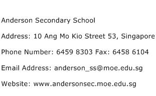 Anderson Secondary School Address Contact Number