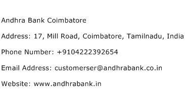 Andhra Bank Coimbatore Address Contact Number