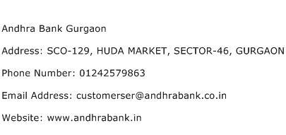 Andhra Bank Gurgaon Address Contact Number