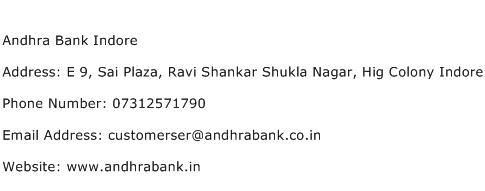 Andhra Bank Indore Address Contact Number