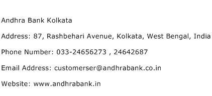 Andhra Bank Kolkata Address Contact Number