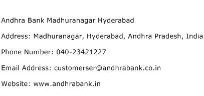 Andhra Bank Madhuranagar Hyderabad Address Contact Number