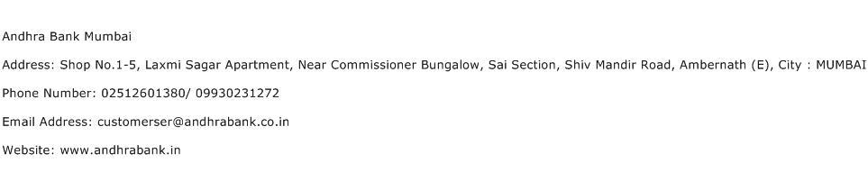 Andhra Bank Mumbai Address Contact Number