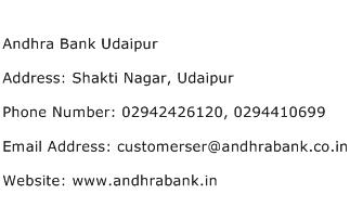 Andhra Bank Udaipur Address Contact Number