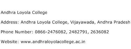 Andhra Loyola College Address Contact Number