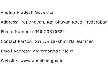 Andhra Pradesh Governor Address Contact Number