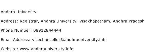Andhra University Address Contact Number