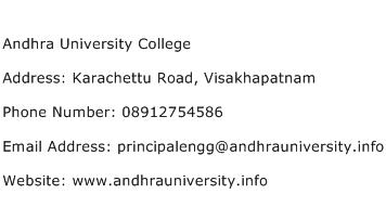 Andhra University College Address Contact Number