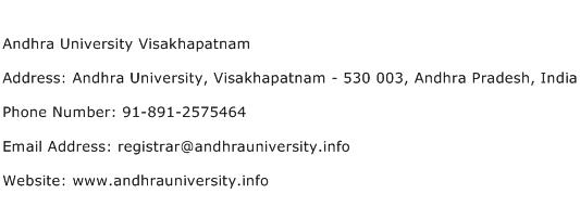 Andhra University Visakhapatnam Address Contact Number