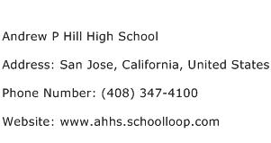 Andrew P Hill High School Address Contact Number