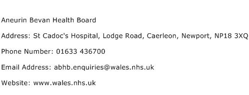 Aneurin Bevan Health Board Address Contact Number