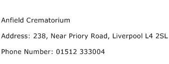 Anfield Crematorium Address Contact Number
