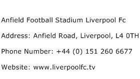 Anfield Football Stadium Liverpool Fc Address Contact Number