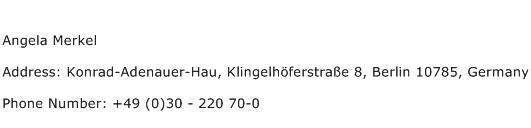 Angela Merkel Address Contact Number