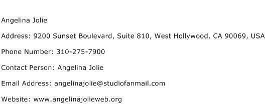 Angelina Jolie Address Contact Number