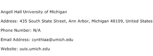 Angell Hall University of Michigan Address Contact Number