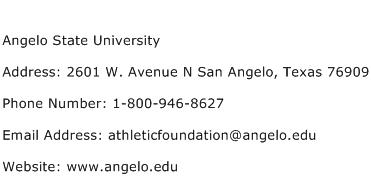 Angelo State University Address Contact Number