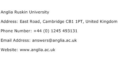 Anglia Ruskin University Address Contact Number