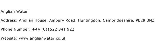 Anglian Water Address Contact Number